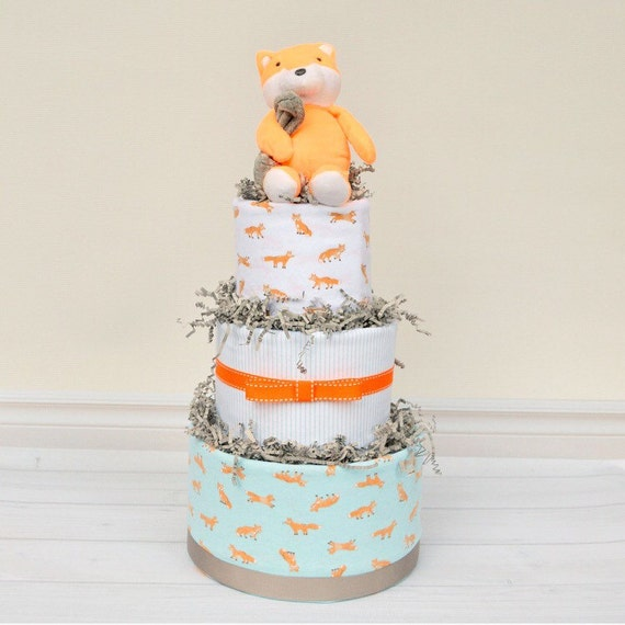 Woodland Baby Shower, Fox Diaper Cake, Fox Baby Shower Decoration, Woodland Baby Shower Centerpiece, Woodland Creatures, Forest Friends