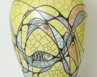 Raku Ceramic  Decor Urn,Yellow-LARGE TALL , DC series