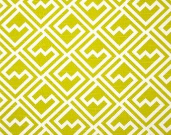 A pair ( two 50W x 90L panels) rod pocket drapes, curtains, drapes, shakes citrus green and white geometric