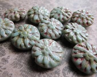 14mm GreenTurquoise Picasso Dahlia Czech Glass Beads, 14mm Dahlia, Czech Glass Flowers, Czech Glass Dahlia, Dahlia,