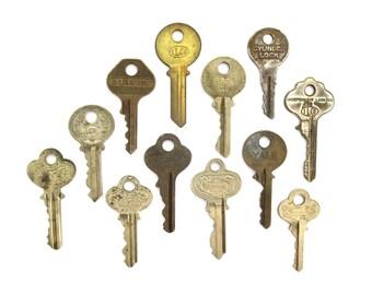 12 vintage keys Antique keys for pendant necklaces Interesting old keys Neat flat keys Words and writing Bulk keys Wedding Antique A1 #27