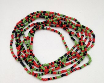 Super Long Boho Glass SEED Bead Infinity Necklace Black Green Coral Red