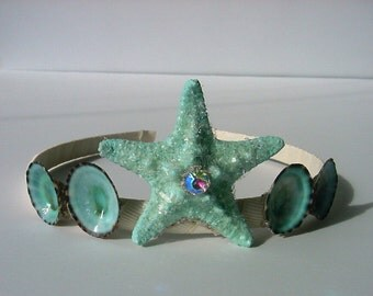 Seashell Crown for Mermaids w.  blue limpet shells and starfish
