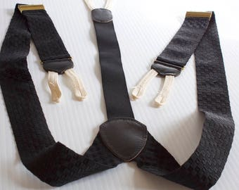 Vintage Mens Black button on Suspenders