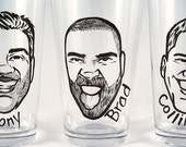 Cool Groomsmen Gift - Vintage Style Caricature Glass- Painted Beer Glass - Groomsman Gift - Best Man Gift - Wedding Gift - Man Gift