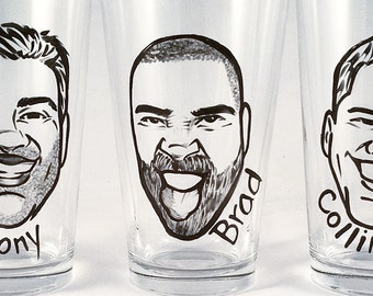 Custom Groomsmen Gift - Will You Be My Groomsman -  Vintage Style Caricature Beer Glass - Groomsman Gift - Best Man Gift -  Man Gift
