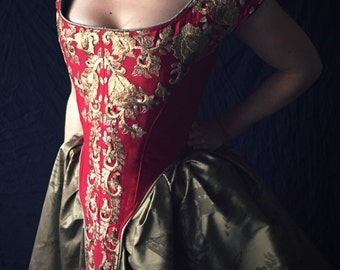 Historical Crimson and Gold Boned Bodice, 17th century corset silk embroidered back lacing Undergarment Straps, size small or medium