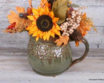 Handmade Ceramic Pottery Pitcher.  Beverage Pitcher. Water Pitcher. Iced Tea Pitcher. Decorative Vase. Copper. Bronze. Sage. Tan.