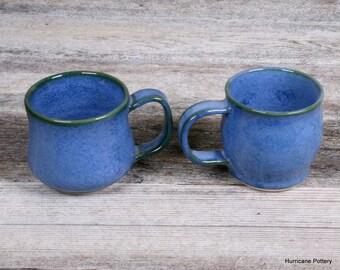 Blue Mugs. Espresso Cups. Hand Thrown Ceramic Mugs. Chai Tea Cups. Herbal Tea Cups