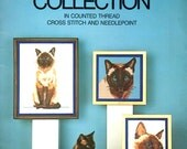 Siamese Cat Collection Watching Butterfly Playing With Yarn Christmas Stocking Counted Cross Stitch Embroidery Craft Pattern Leaflet 90001