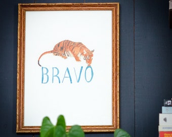 Archival Print  - Tiger Drawing - BRAVO - Limited Edition Art Print
