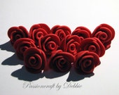 12 edible sugar paste fondant red rose blossom flowers birthday wedding anniversary party christening cake cupcake toppers