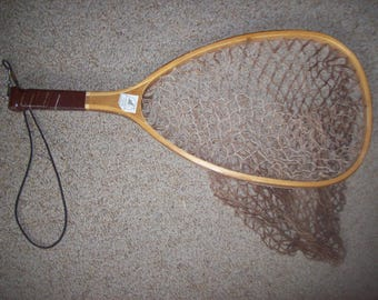 Vintage Fish Landing Net with Wood Frame
