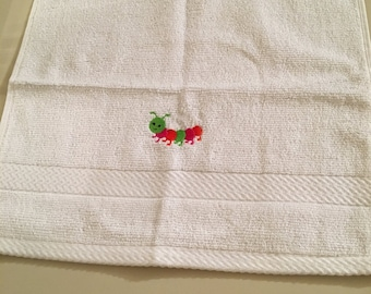 Washcloth with a Colorful Caterpillar