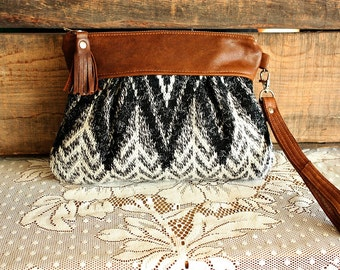 Chevron wristlet/ Pouch/ Clutch in Leather and upcycled sweater wool fabric leather tassel trim-- Ready to Ship--