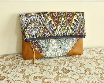 Bohemian foldover clutch handbag pouch leather trim clutch  -- Ready to Ship