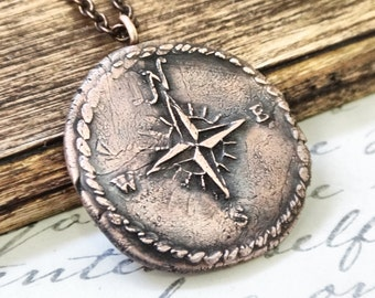 Compass Rose Pendant, Nautical Necklace, Wax Seal Necklace, Gifts for Travelers, Gifts for Grads, Stocking Stuffers Copper Bronze Silver