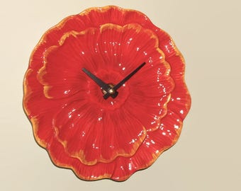 8 Inch Red Poppy Flower Wall Clock, SILENT Plate Clock, Housewarming Gift, Unique Wall Decor, Unique Wall Clock, Red Clock - 2320