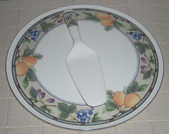Mikasa Garden Harvest Cake Plate with Server