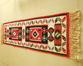 Vintage Wool Blend Wall Decor / Wool Wall Hanging / Table Runer