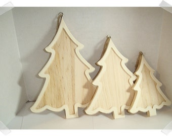 Wooden Pine Tree Frame Ornament- Unfinished/ 3 Sizes/ Single OR Set of 3/ Holiday/ Craft Supplies*