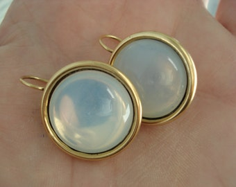 Vintage Czech White Moonstone Opal Glass Earrings in Gold Plated Pierced Earrings