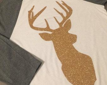 Deer Head Raglan - Size Medium