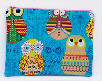 Rainbow Owls zip pouch