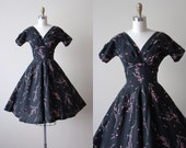 50s Dress - Vintage 1950s Dress - Black Novelty Print Dark Floral Jerry Gilden Cotton Dress XS - Cherry Branch Dress
