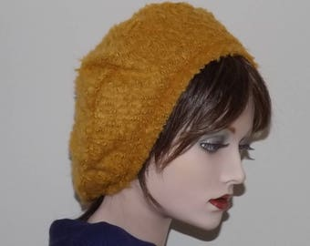 Ladies Gold Boucle Fabric Beret, Yellow Fashion Beret, Gold Fabric Hat