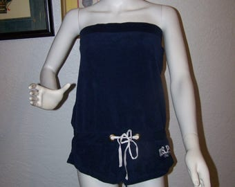 Vintage 1990s U.S. Polo Assn. Navy Blue Terry Cloth One Piece Size Medium Romper Bathing Suit Sports Spring Summer Jumper Beach USPA Leisure
