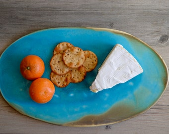 Cheese plate Ceramic plate , turquoise serving platter, serving plate by Christiane Barbato