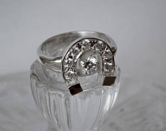 Horseshoe Sterling Silver with Lab created Diamonds Ring RF990