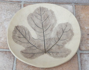 Handmade plate impressed with fig leaf decoration stoneware dish pottery ceramic