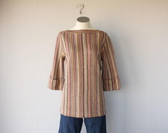 Vintage 1970s Sweater | 70s Sweater | 70s Boho Sweater | 70s Tunic Sweater | Striped Sweater