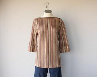 Vintage 1970s Swetaer | 70s Sweater | 70s Boho Sweater | 70s Tunic Sweater | Striped Sweater