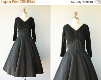25% OFF FLASH SALE.. Vintage 50s Party Dress | 1950s Dress | 50s Wool Dress | 50s Formal Dress | Black Party Dress | 1950s Holiday Dress