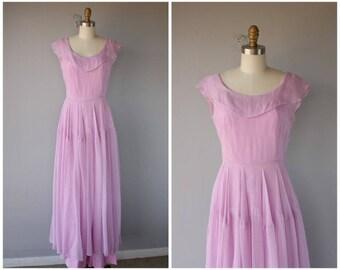 Vintage 1940s Silk Chiffon Maxi Dress | 40s Dress | 1940s Gown | 1940s Dress | Pink 1940s Dress - medium