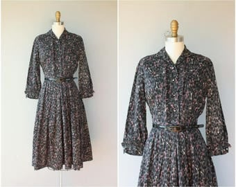 Vintage 1950s Novelty Print Dress | 50s Key Print Dress | 50s Shirtwaist Dress | 1950s Cotton Dress | 1950s Day Dress - (medium)