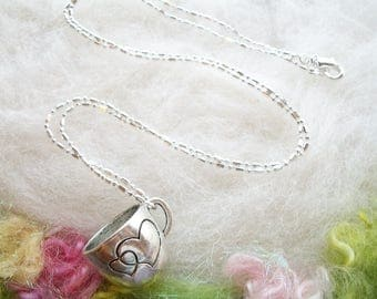 Tea Cup Necklace Silver Cup Necklace Pendant Detailed Heart Mug Loving Cup Fairy Tea Cup  Silver Chain Whimsical Jewelry Retro Necklace
