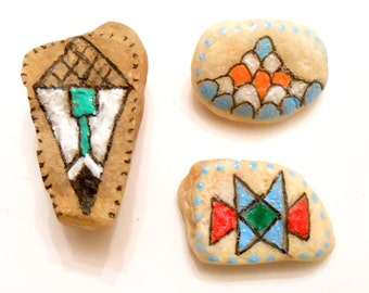 Beach Stones with Pamunkey Style Designs Pottery