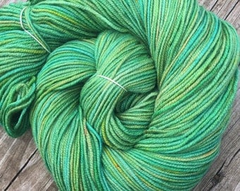 Hand Dyed DK Yarn Landlubber OOAK Hand Painted yarn 274 yards handdyed dk sport weight Superwash Merino Wool swm spring green mint gold swm