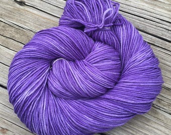 Hand Dyed DK Yarn Avast ye Wildcats! purple Hand Painted yarn 274 yards handdyed dk sport weight Superwash Merino Wool swm lilac violet ksu