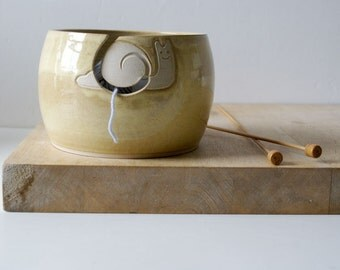 Ready to Ship - The happy snail yarn bowl glazed in pepper yellow