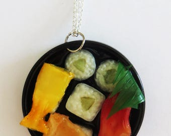 Miniture sushi bowl necklace on silver plated chain