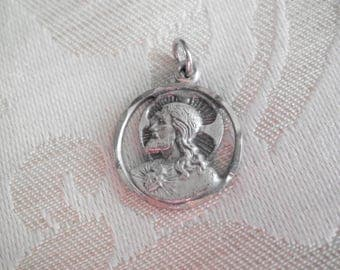 Small OLD Vintage STERLING Sacred Heart & Our Lady of Mt Carmel Scapular Cut Out Medal Charm