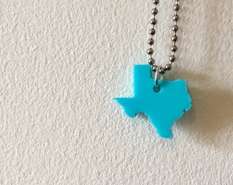 Texas Lasercut Necklace - Turquoise Blue State Jewelry - Small Size