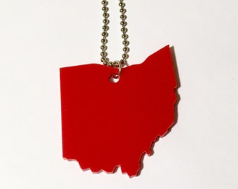 Red Laser Cut Acrylic State Necklace - Ohio Jewelry - Large Size Ohio Necklace