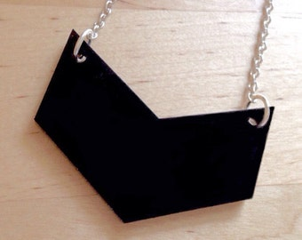 Chevron Necklace in Black Acrylic Plastic - Lasercut Necklace - Geometric Jewelry