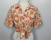 Vintage 1950s French Print Plus size Top - Cute Women's 50s Rockabilly Shirt with fruit and butterfly Print XL XXL Plus